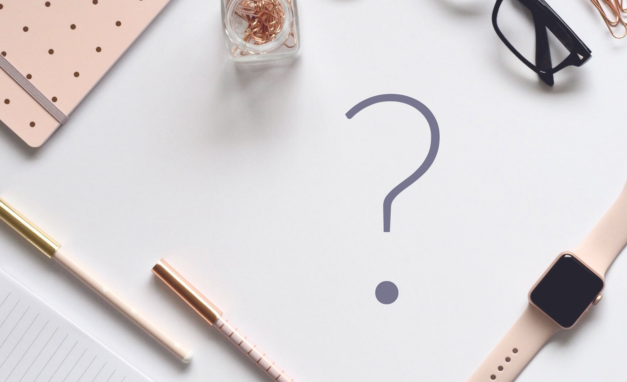 image of a question mark on a desk