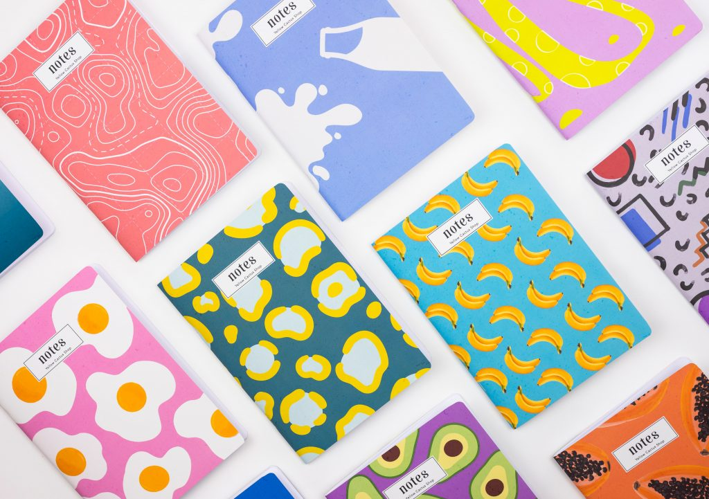 Image of notebooks with various patterns on their covers