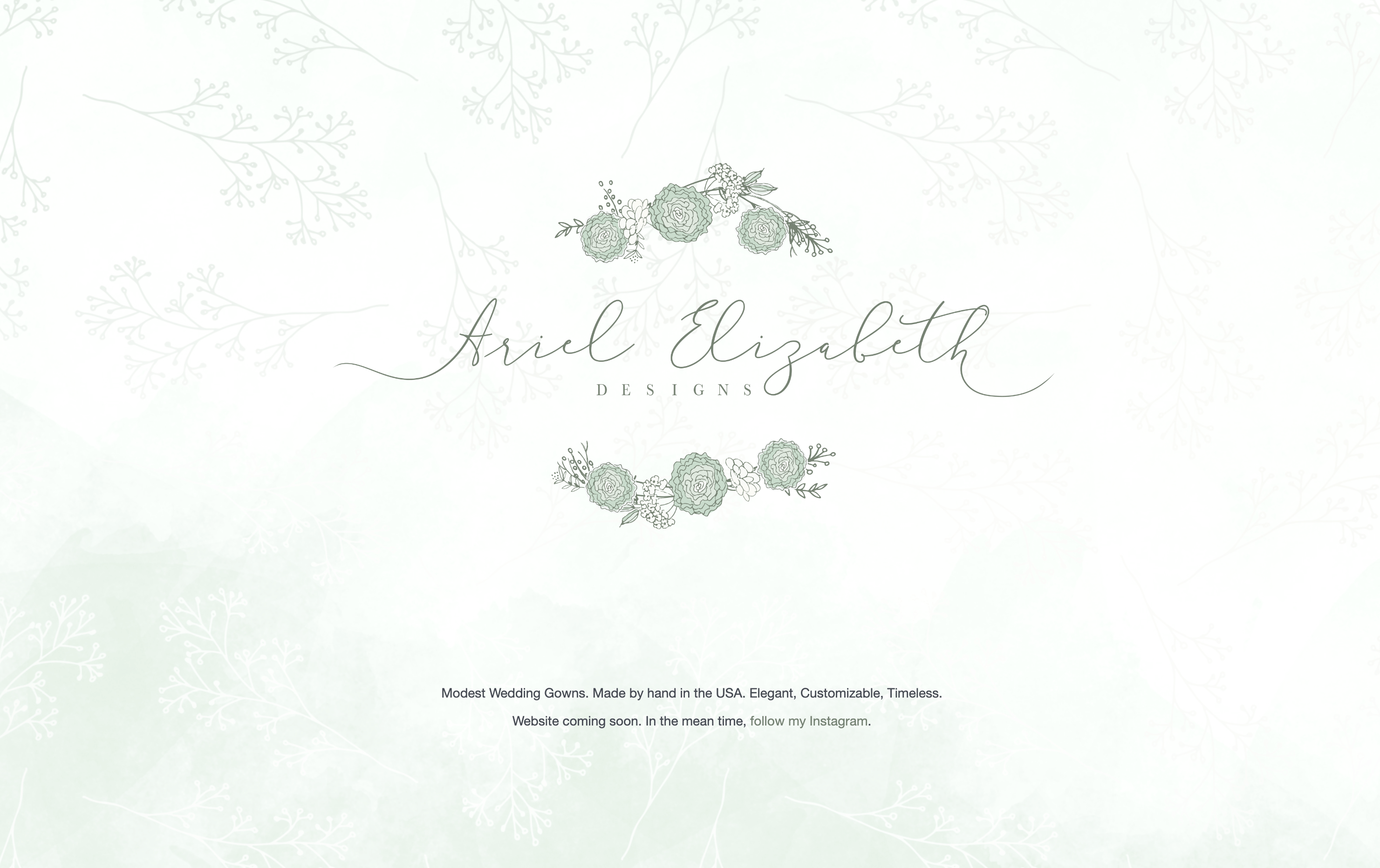 Temporary landing page for Ariel Elizabeth Designs, featuring the logo and a textured background.