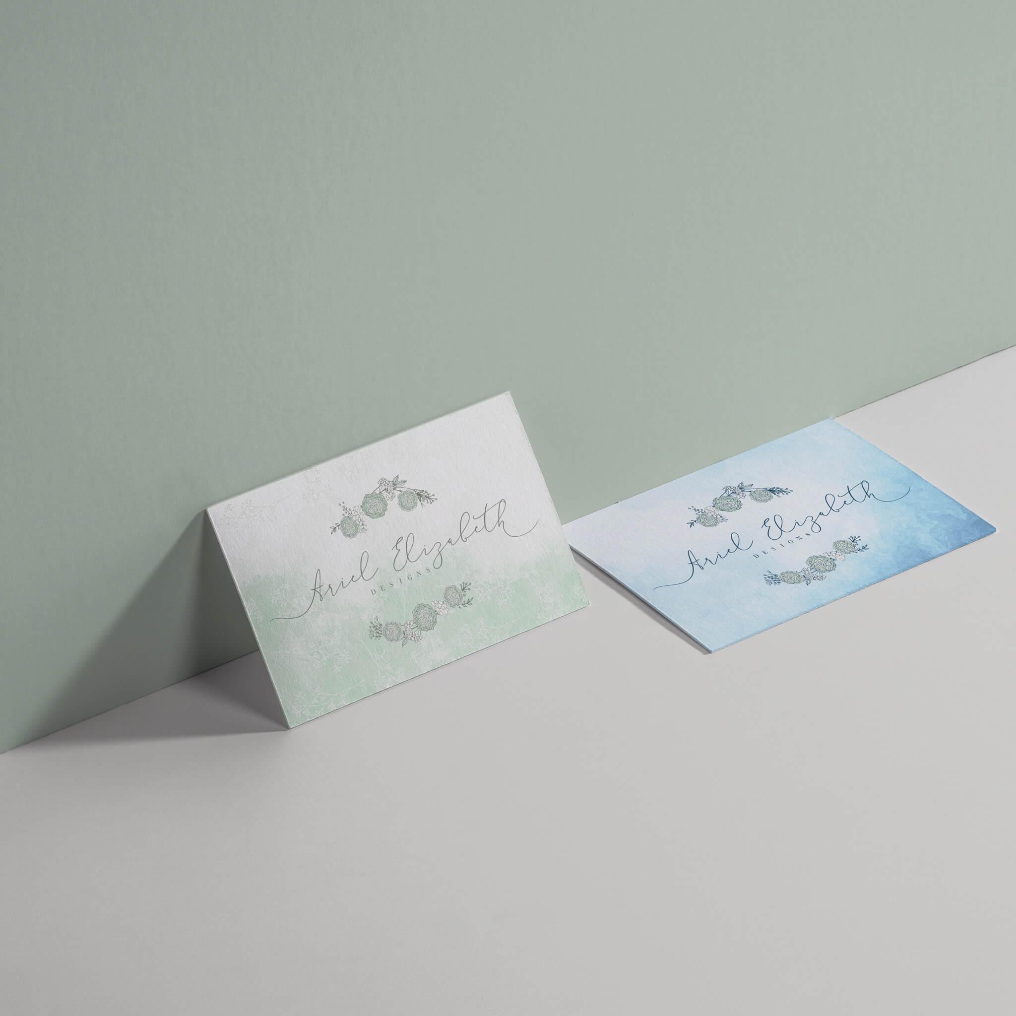 Original business card design for Ariel Elizabeth Designs