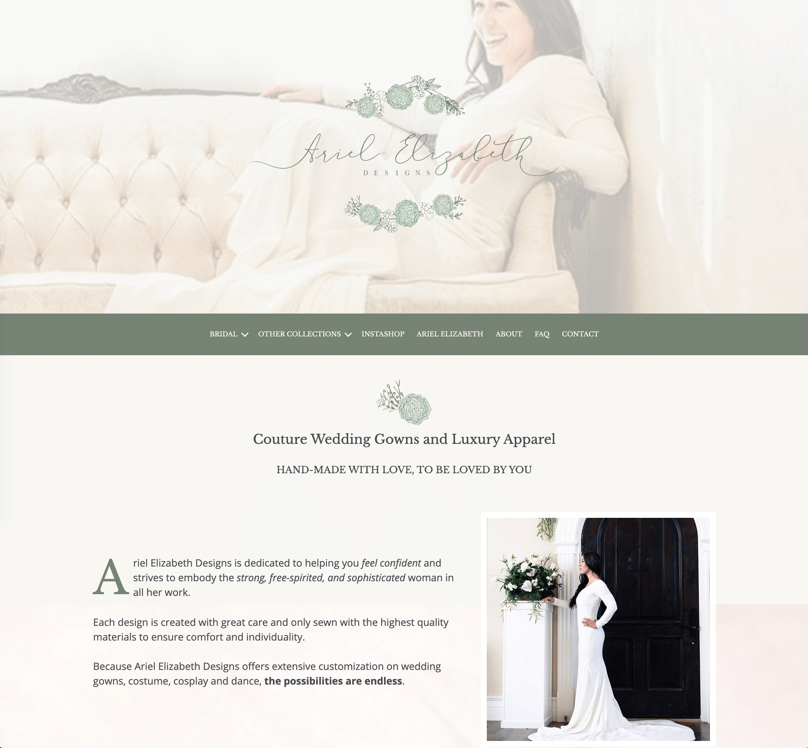 Front page of the Ariel Elizabeth Designs website.