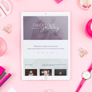Ipad screen showcasing the front page for Daily Love Journey