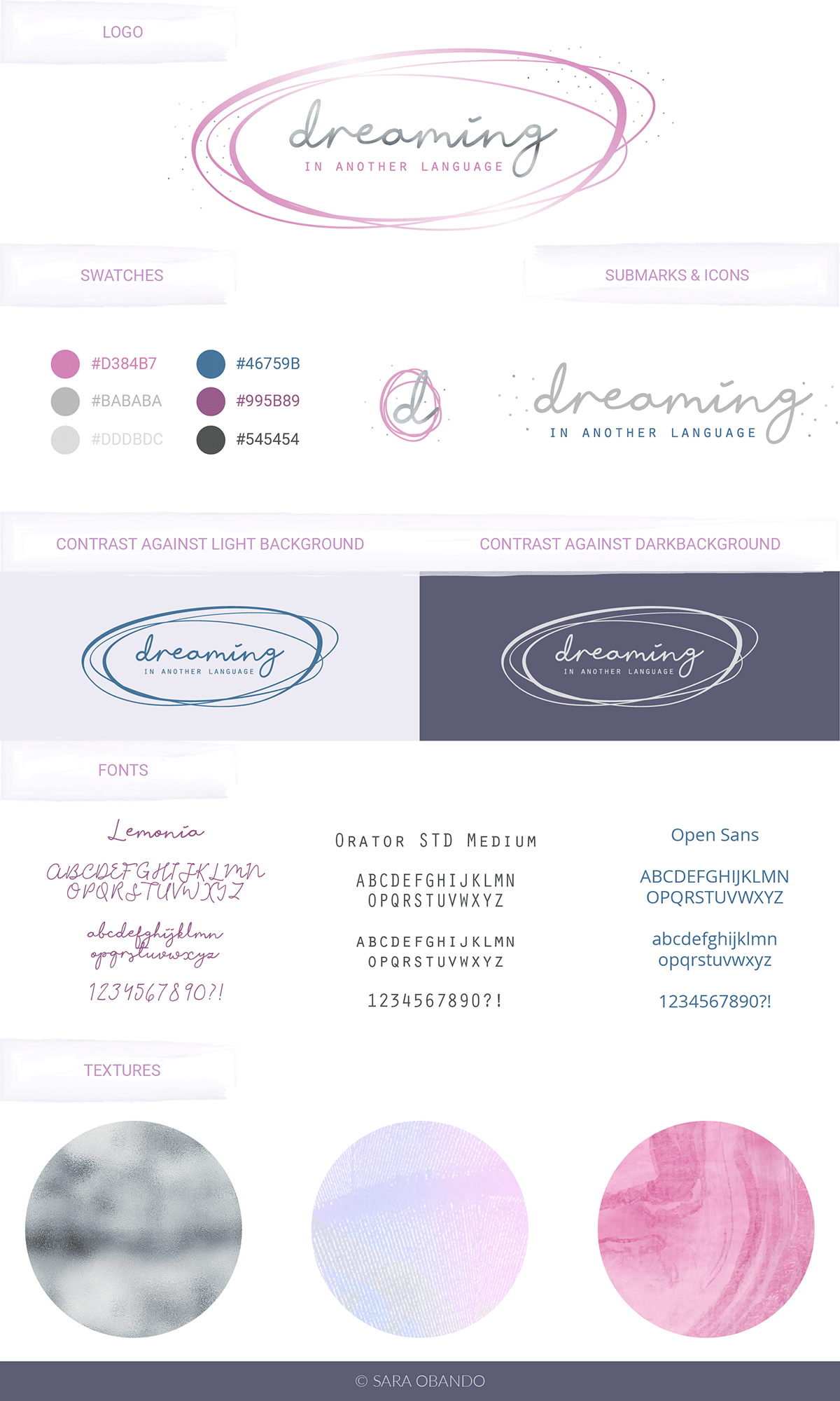 Brand board for Dreaming in Another Language