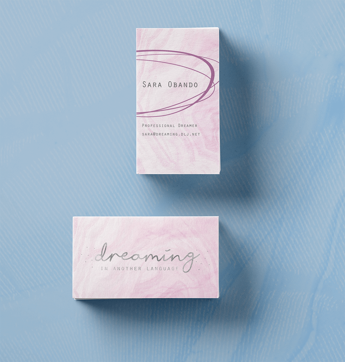 Close up of the business card design for Dreaming in Another Language