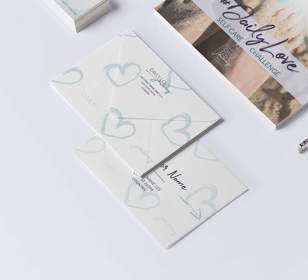 Stationery closeup of the envelopes for Daily Love Journey
