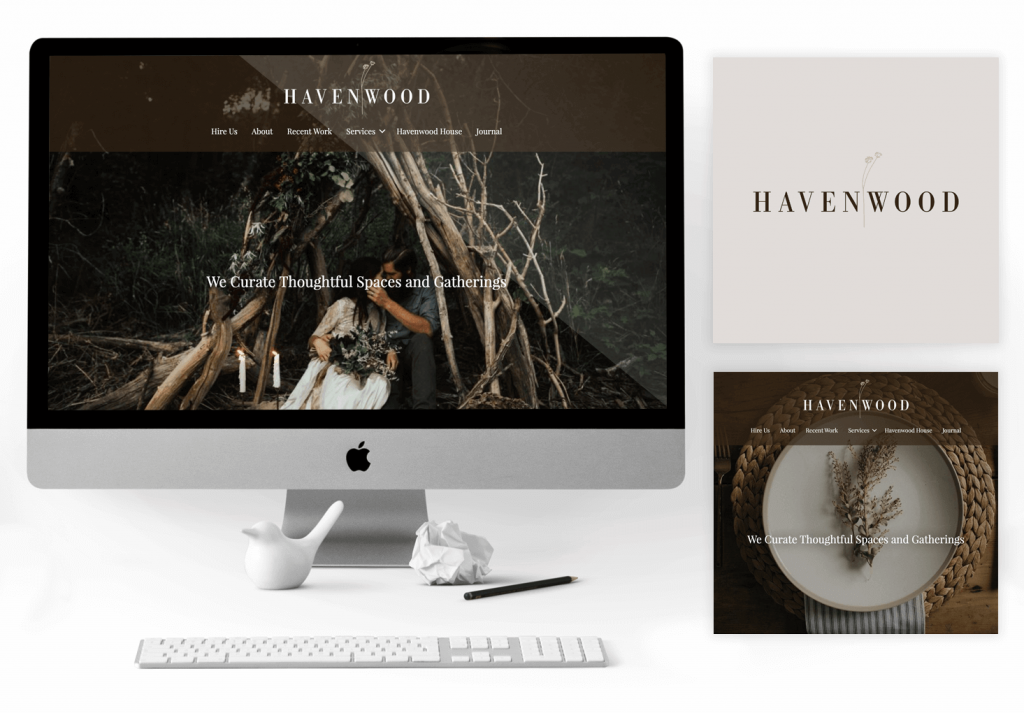Desktop computer showcasing the Havenwood Website. Next to the computer are two images, one featuring the Havenwood Logo, and one featuring the front page of the Havenwood Design website in tablet format.
