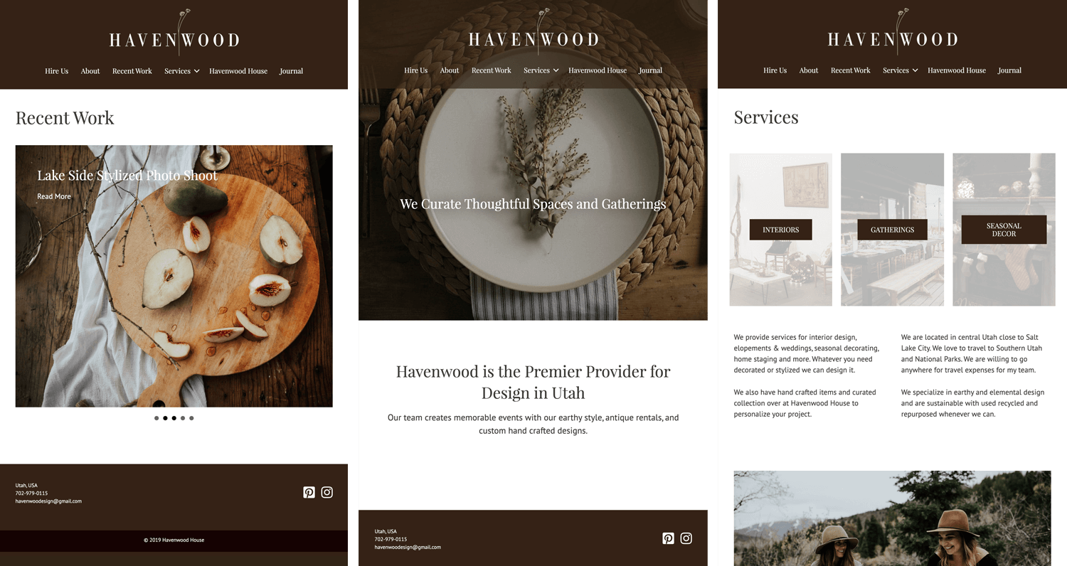 Havenwood Design website in tablet format. Showcasing the Recent Work page, the home page, and the services page.