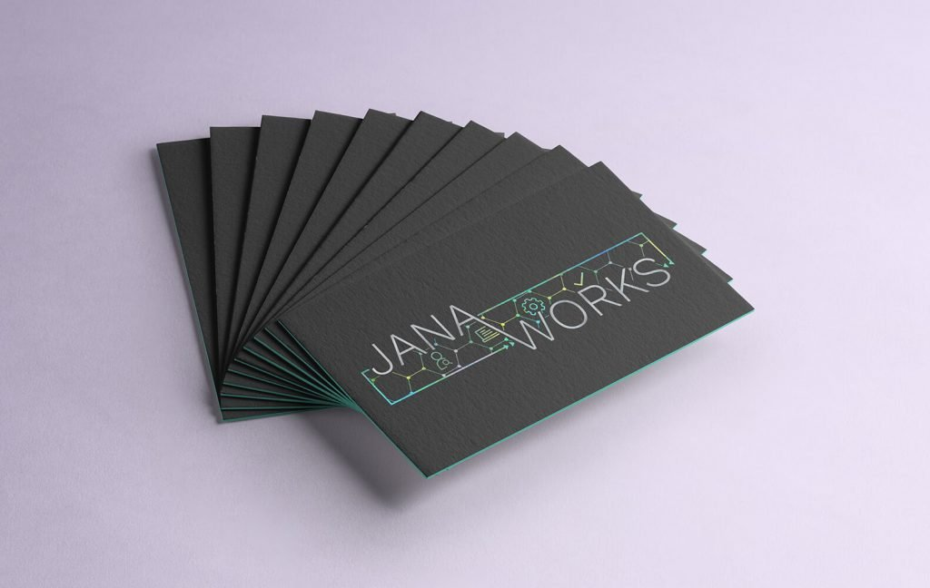 Black Business Cards with the new Jana Works logo on them