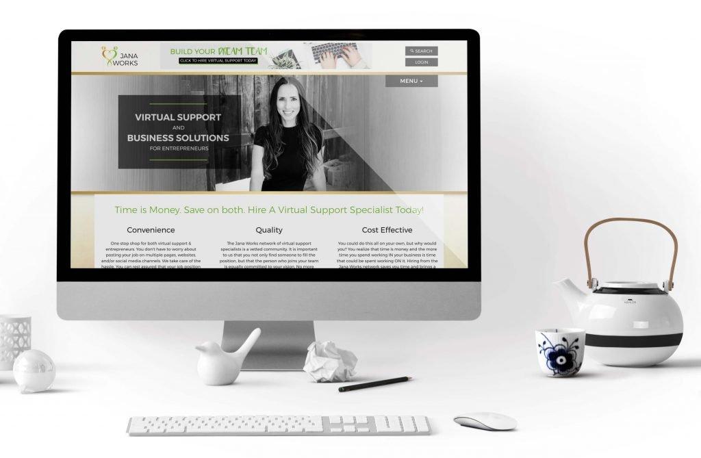 Desktop computer showcasing the Jana Works website.