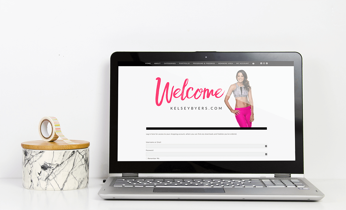 Laptop computer showcasing the Kelsey Byers Welcome page for her membership.