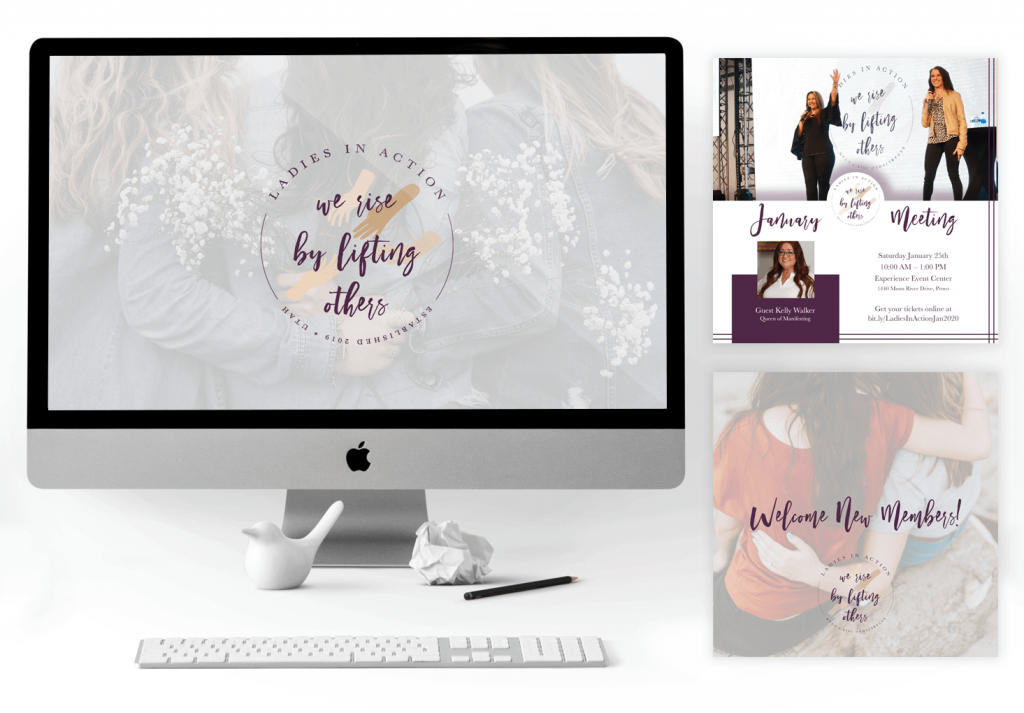 Desktop computer showcasing a big banner with three women hugging, and in front of them the Ladies in Action logo. To the side of the computer are two images, one of a Ladies in Action event flyer, and the other one of a social media welcome graphic.