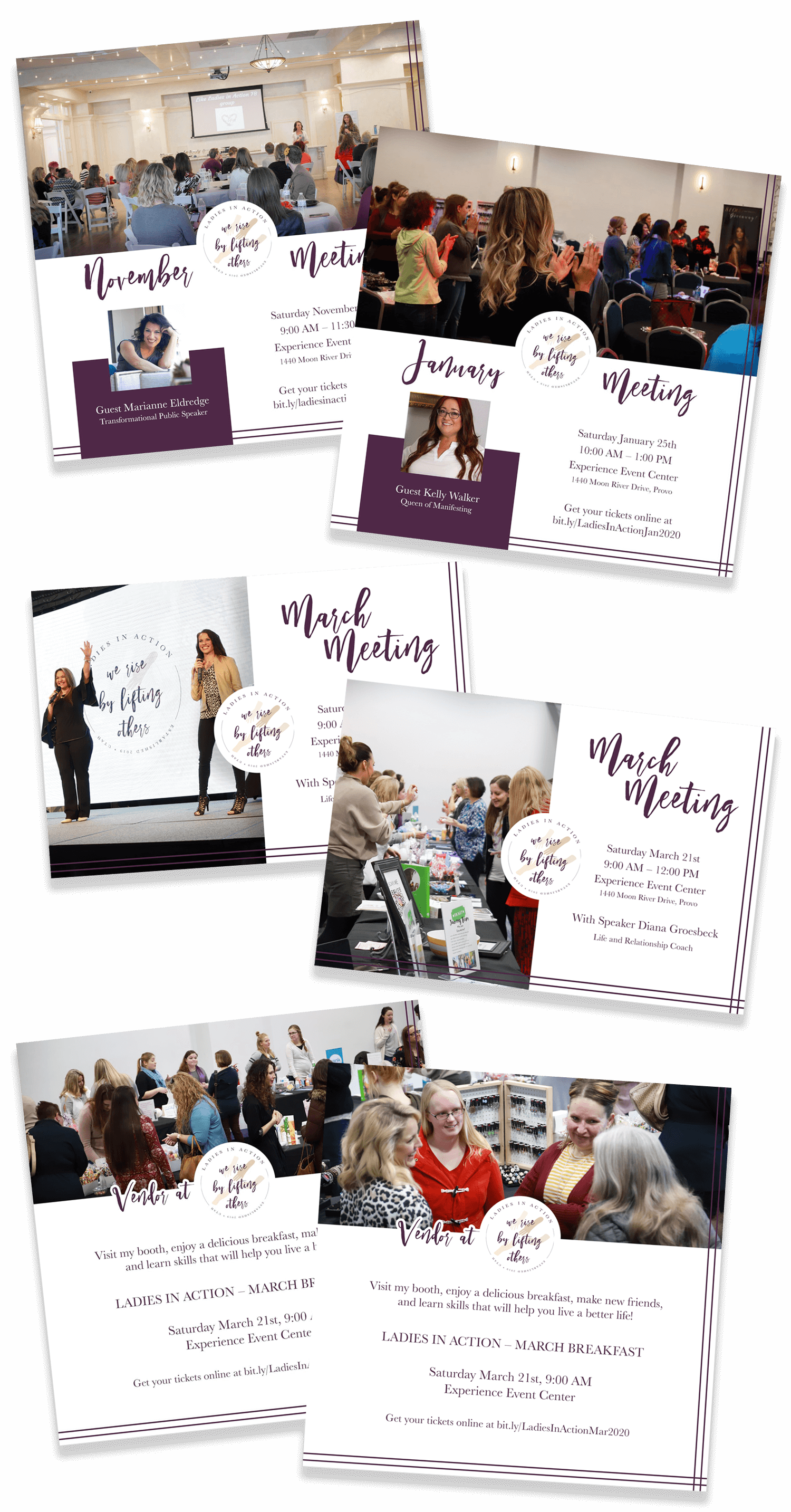 Collage of different invitation graphics for Ladies in Action events. Two graphics are square and feature the guest speaker, two graphics are styled like a horizontal postcard, and the last two graphics are specific for vendors to share.