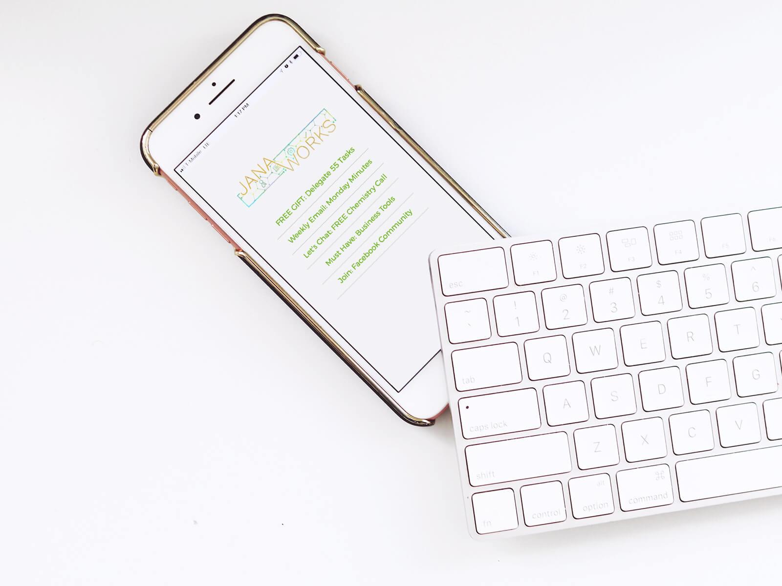 Jana Works Links Page on a mobile device