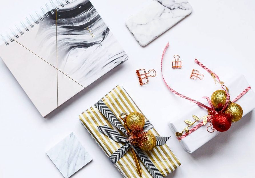 image of gifts wrapped on a desk